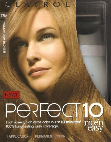 Clairol Nice N Easy Perfect 10 Hair Color #7.5A Medium Ash Blonde