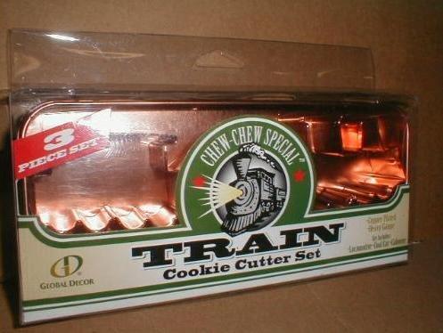 Old Fashioned Copper Train Cookie Cutter Set & Case