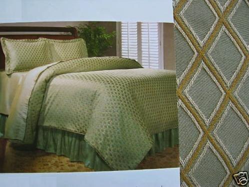 Duvet Set + Shams Bedskirt Sage/Gold Damask Diamond Jacquard King Classic Home
