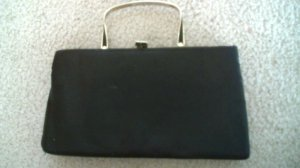 Vintage 1960's black satin evening purse with metal handle