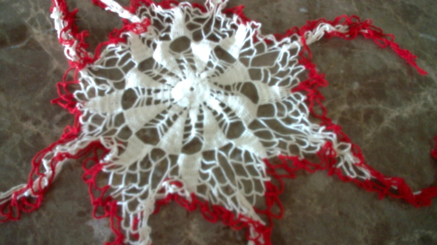 Vintage Fabric Lace Red & Off White Crocheted Doily Runner