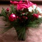 CHRISTMAS HOLIDAY SILK FLOWER POINTSETTIA ARRANGEMENT