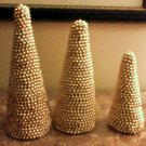 Christmas Holiday Beaded Cones - set of 3