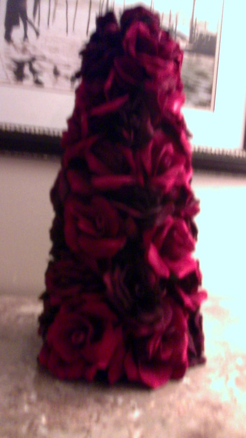 CHRISTMAS HOLIDAY SILK ROSE CONE ARRANGEMENT