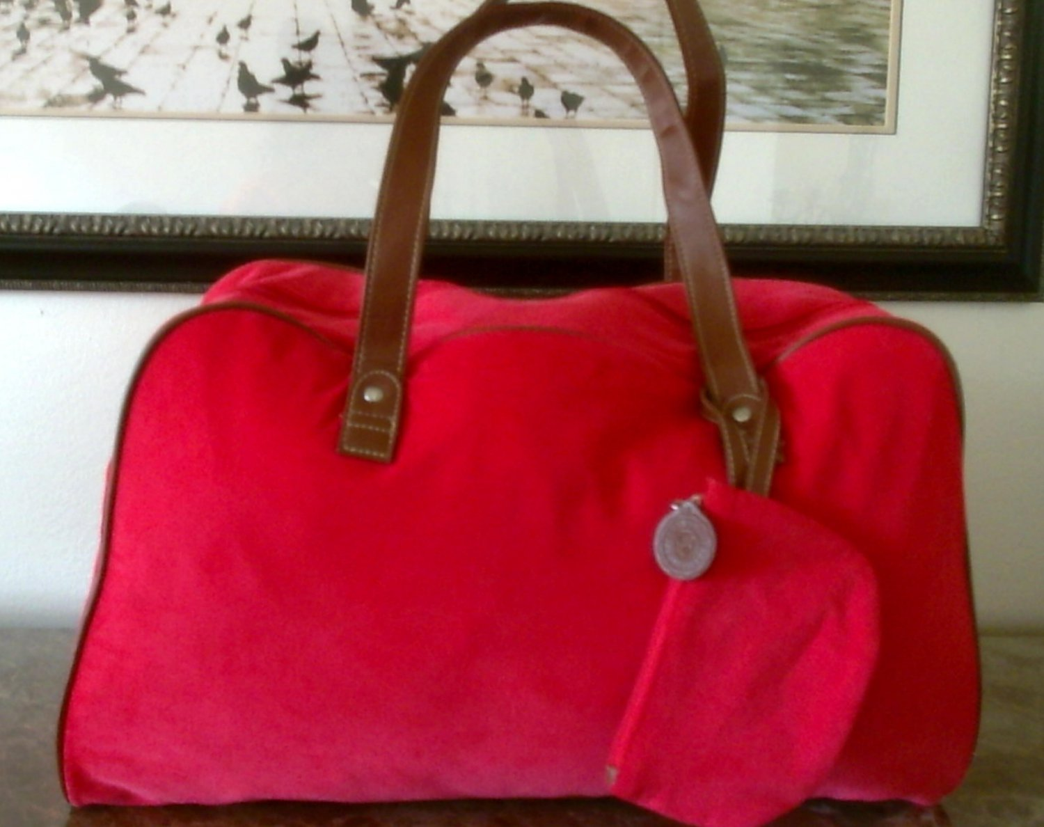 Tommy Hilfiger Red Corduroy Duffle Tote Bag