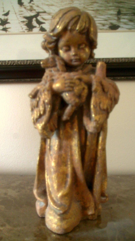 Gold Leaf Shepherd Statue