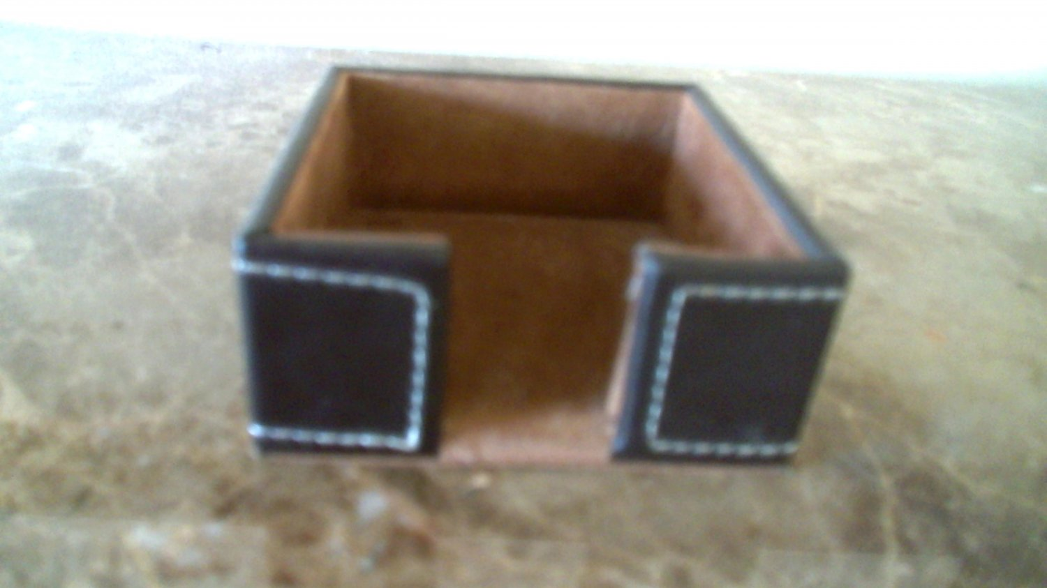 Stitched Dark Brown Leather 3 X 3 Post-It® Note Holder - small