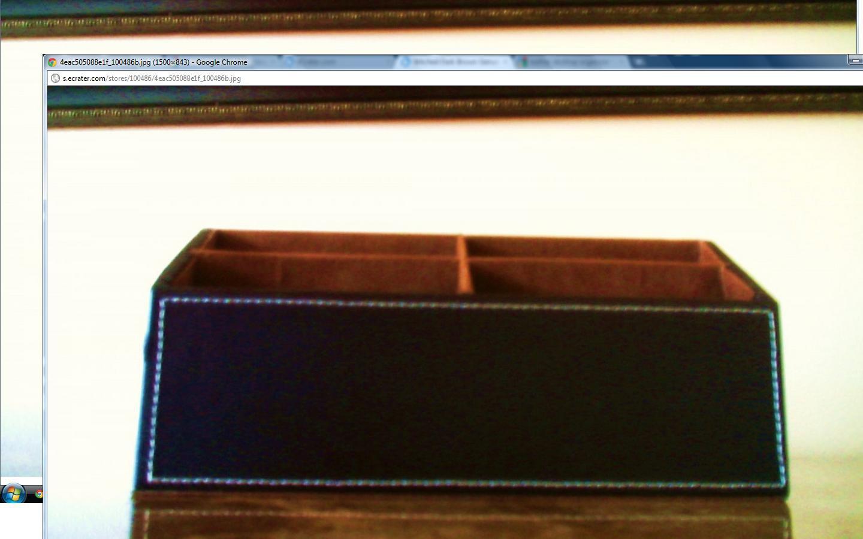 Stitched Dark Brown Genuine leather Desktop Organizer