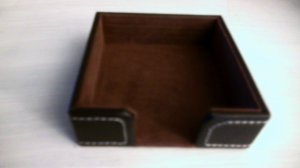 Stitched Dark Brown Leather 3 X 3 Post-It® Note Holder - large