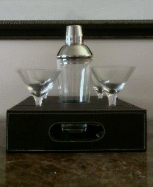 Stitched Leather The Cosmopolitan Martini 4 Glasses Set
