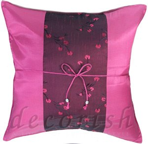 FUSCHIA Thai Silk Pillow Cases Chinese Style with Floral Stripe