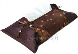 Brown Silk Kleenex Tissue Box Cover with Chinese Floral style