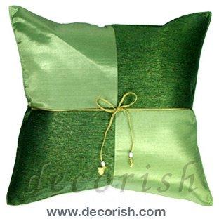 Green Silk Decorative Pillow Cases - Checker Design