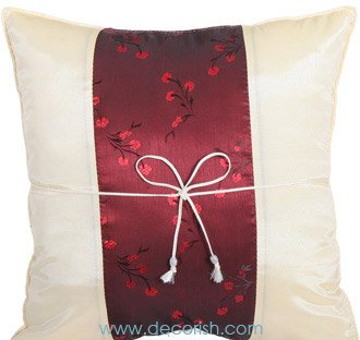 Silk Throw Cushion Covers - CREAM with MAROON Floral Middle Stripe