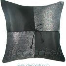 BLACK Silk Throw Decorative Pillow Cases - Checkered Design