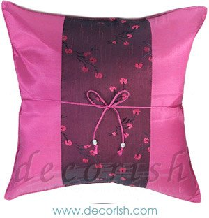 FUSCHIA Silk Cushion Covers Chinese Style with Floral Stripe