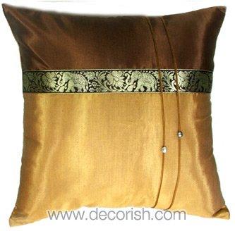 Silk Throw Cushion Cover - BROWN / GOLD Elephants Design