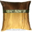 Silk Throw Cushion Cover - BROWN / GOLD Elephants Design
