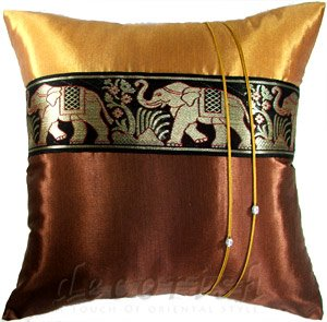 Silk Throw Cushion Covers - Large Thai Elephants Brown/Gold