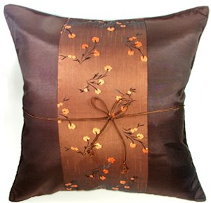 Silk Throw Pillow Covers - Brown Chinese Style with Brown Floral Stripe