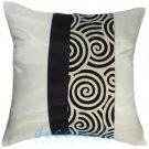 CREAM Silk Throw Pillow Cover with 2 Tone BLACK Spiral Middle Stripe Design