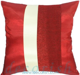 Silk Throw Decorative RED & CREAM Cushion Covers - Triple Stripe