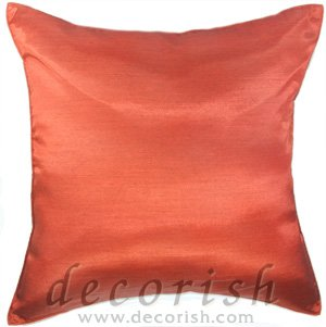 Orangy Red Silk Throw Decorative Cushion Covers