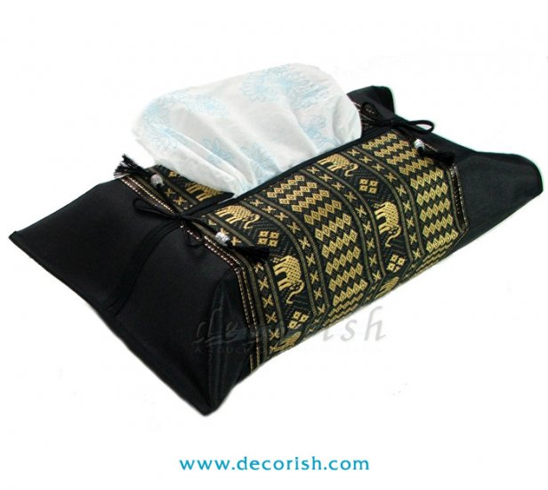 BLACK Thai Silk Kleenex Tissue box Cover with Thai Elephants