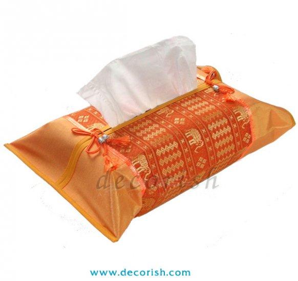 ORANGE Silk Kleenex Tissue box Cover with Thai Elephant