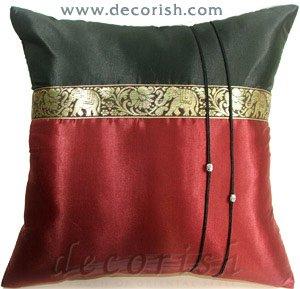 Silk Decorative Pillow Covers - Maroon & Black Thai Elephants Design
