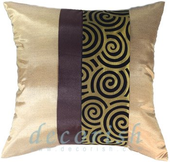 GOLD & BROWN Silk Throw Pillow Covers with 2 Tone Spiral Middle Stripe