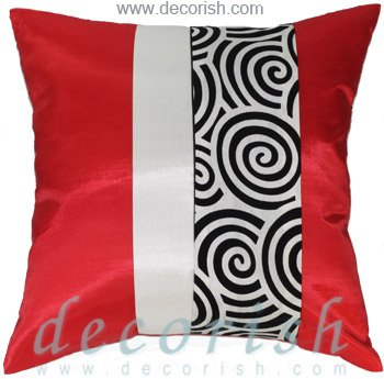 RED & CREAM Silk Decorative Pillow Covers with 2 Tone Spiral Middle Stripe Design