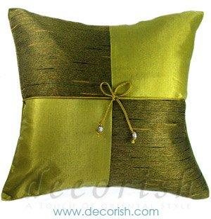 LIME Silk Decorative Pillow Covers - Checker Design