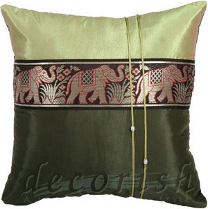 Silk Throw Pillow Cases- Large Thai Elephant GREEN