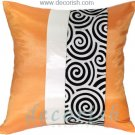 ORANGE & BLACK Silk Decorative Pillow Covers with 2 Tone Spiral Middle Stripe Design
