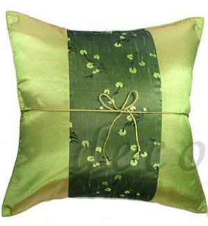Silk Throw Pillow Covers - Green with Green Floral Middle Stripe