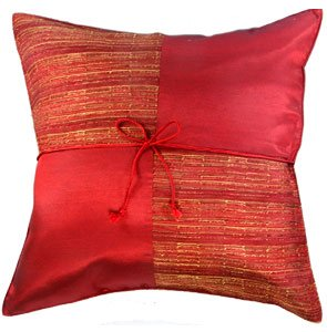 Silk Throw Decorative Pillow Cover - Red with Checker Design