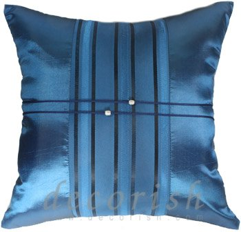 Silk Throw Pillow Covers - BLUE with Middle Stripe
