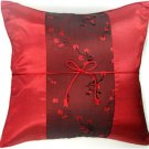 DARK RED Silk Pillow Covers Chinese Style with Floral Stripe