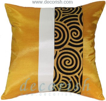 GOLD Silk Throw Decorative Cushion Covers with 2 Tone Spiral Middle Stripe Design