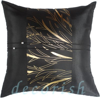 BLACK Silk Pillow Cover with Golden Bamboo Middle Stripe Design