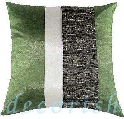 Silk Decorative PILLOW CASES - GREEN & CREAM Triple Stripe