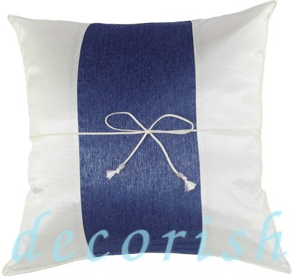 Silk Throw Pillow Covers - CREAM with Blue Middle Stripe
