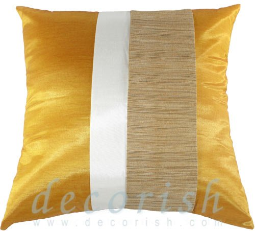 Silk Throw Decorative PILLOW COVERS - GOLD & CREAM Triple Stripe