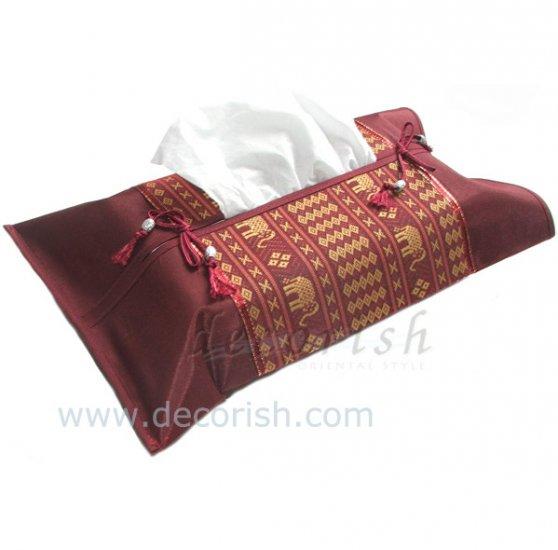 MAROON Silk Kleenex Tissue box Cover with Thai Elephants stripes