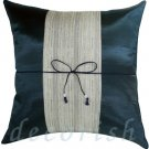 BLACK SILK THROW PILLOW COVER with GRAY Middle Stripe
