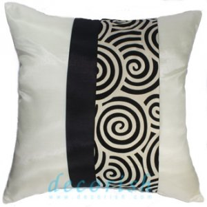 CREAM SILK THROW PILLOW CASES with 2 Tone Spiral Middle Stripe Design