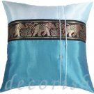 Silk Bedding Throw Pillow Covers - Large Thai Elephants BLUE