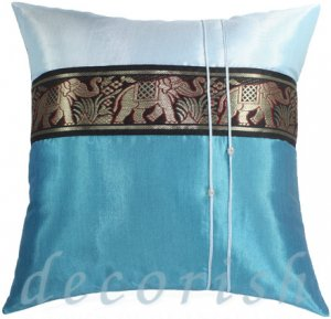Silk Bedding Throw Pillow Covers - Large Thai Elephants BLUE