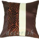 BROWN & CREAM Silk Couch Decorative Pillow Cases with 2 Tone Spiral Middle Stripe